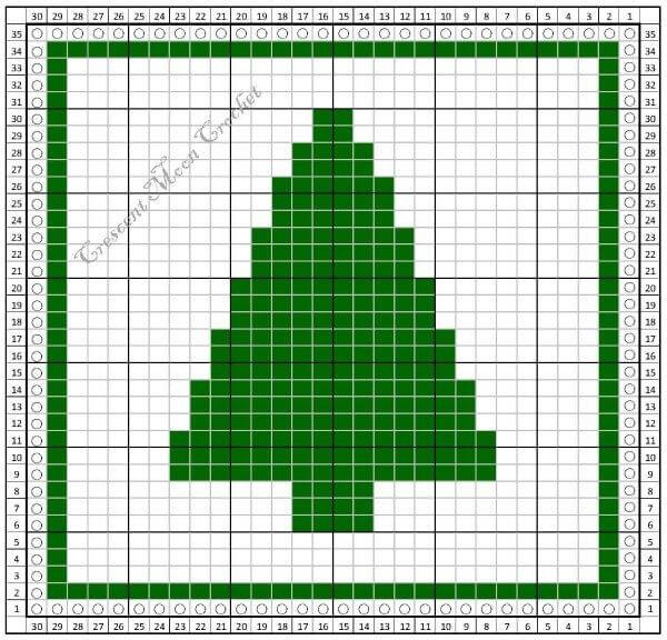 Christmas Tree Dishcloth - Free Tunisian Crochet Pattern