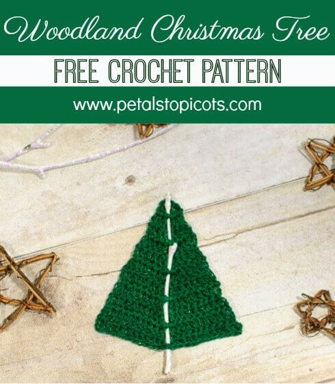 This Woodland Christmas Tree crochet pattern stitches up quickly and makes a wonderfully whimsical little tree to add to your decor, hang on your tree, or even pin to a lapel! #petalstopicots