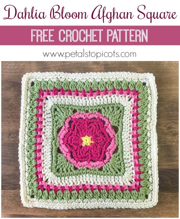 I'm loving this Dahlia Bloom Afghan Square Pattern!! I can already imagine all the lovely color combinations you will make! #petalstopicots