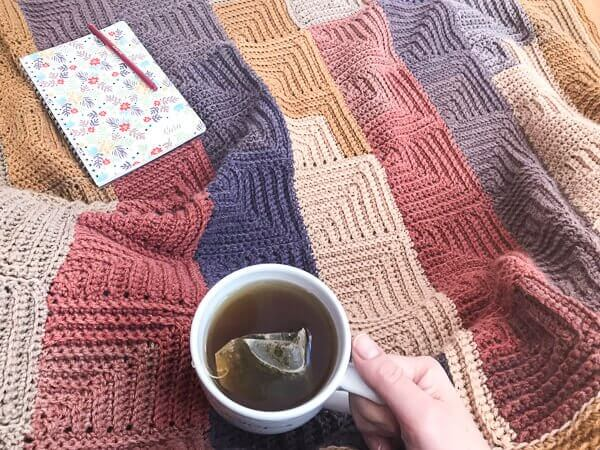 Continuous Mitered Square Crochet Afghan Pattern Petals