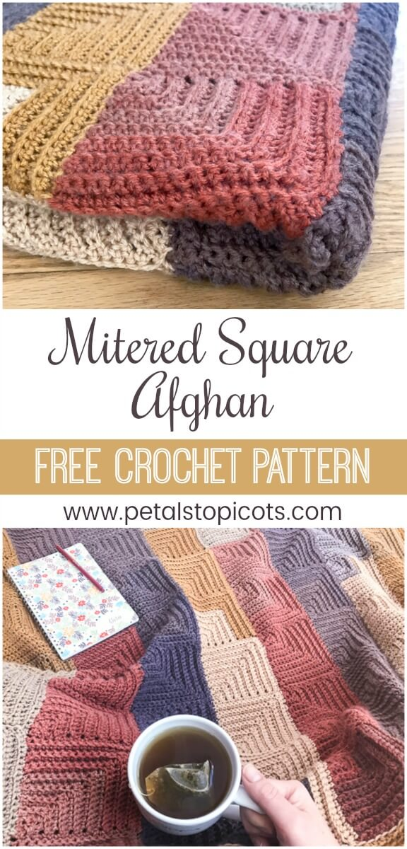Continuous Mitered Square Crochet Afghan Pattern Petals To Picots