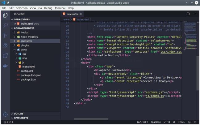 Aplikasi Cordova di teks editor VS Code