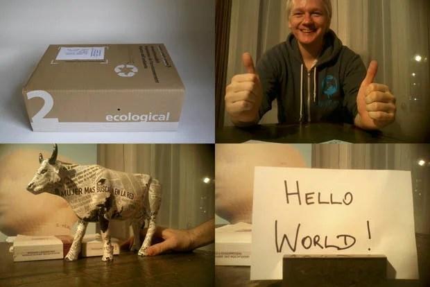 Parcel Camera Captures Photos of Julian Assanges Life in Hiding juliancardboard