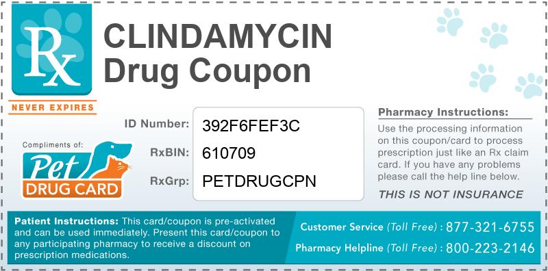 Clindamycin Coupon - Pet Drug Card