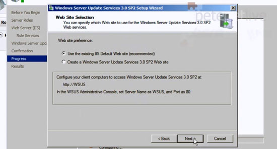 WSUS Web Site Settings