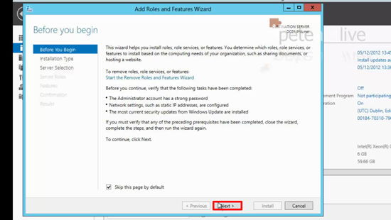 Add Roles to Server 2012