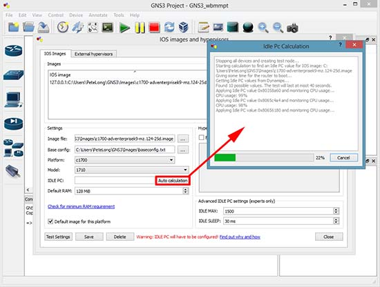 GNS3 IDLE PC calculation
