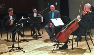 The Kreutzer Quartet: PSS, Mihailo Trandafilovski, Clifton Harrison, Neil Heyde, with MIchael Finnissy introducing his 'Civilisation', which we premiered in 2013 Photo: Amanda Bayley
