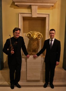 Stravinsky & Prokofiev with the fabulous Roderick Chadwick at Clothworkers Hall - here with the Guild mascot, Cedric the Ram. 8 3 16