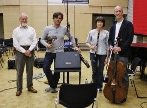 Recording with John McCabe. One of the great composers. McCabe, Sheppard Skaerved, Linda Merrick, Neil Heyde. RNCM 10th July 2011
