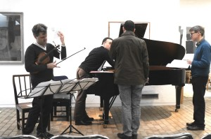 Preparing, with composers Richrard Causton and Jeremy Thurlow 27 4 14