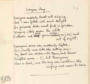 The autograph of Sassoon's 'Everyone Sang'
