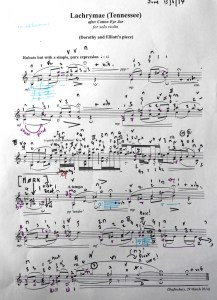 My score of Sadie Harrison's 'Lachrymae' complete with  indications of resultant tones and the 'darkness-point' one of which seems lie at the heart of so many of Sadie's pieces.