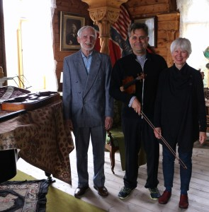 With Schak Bull and Olea Smith Kaland-Bull's great-grand-nephew and great granddaughter, with the violin, the bow, and the case! 28 5 15