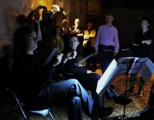 Peter Sheppard Skaerved, Mihailo Trandafilovski, mathematician Dr Nick Goldman, artist Charlotte Jarvis, in post performance Q&A