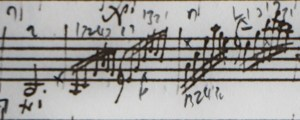 Moving around the instrument by block. This 'rhythmic fingering' (as Leopold Auer would call it), means that the same fingering is used for each chord change on the half bar. Very much, an improvisers gambit, it's a pattern which we can see used all accross Mozart's concertante violin writing in the 1770s (1 10 15)