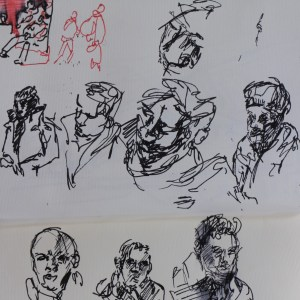 Unlike many people, it seems, I love the Underground, and most especially the people on it. I have been drawing them, or rather, taking notes on them, ever since I was a teenager. Last night, on the way to rehearse Mozart. 15 minutes on the Jubilee line. 24 3 16