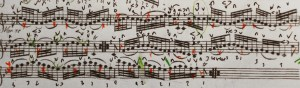 Variation 31. I have added indications for the brief 'mese da voce' on the syncopated up-bows.