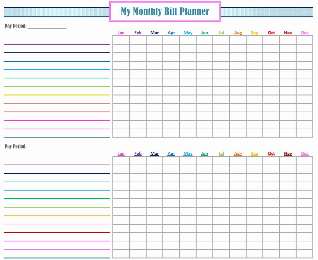 Bill Organizer Spreadsheet
