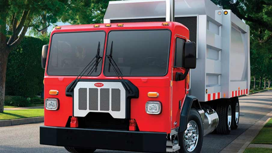 Photo of the exterior of a red Peterbilt Model 520