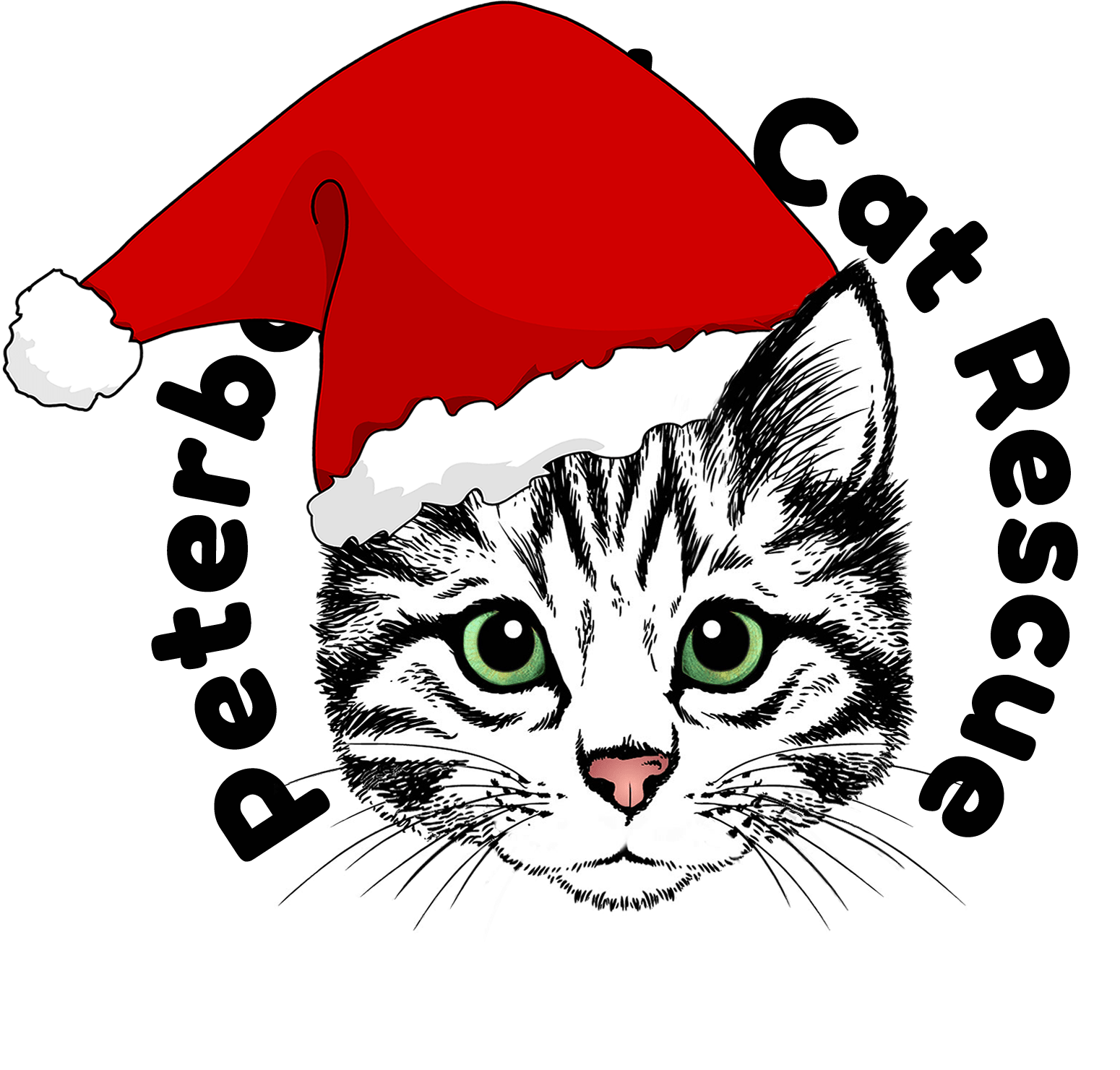Peterborough Cat Rescue logo with Christmas hat