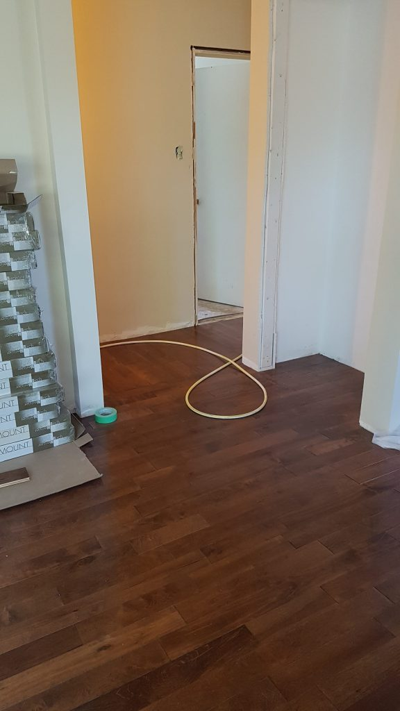 New hardwood floors, living room to the hallway