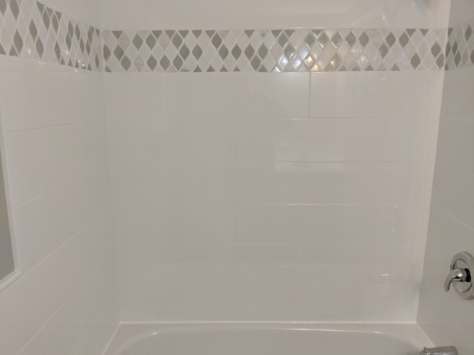 New tiles installed in a bathroom