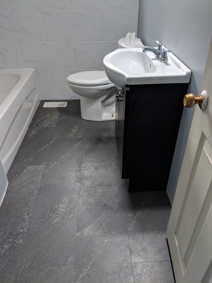 New vinyl flooring put in a bathroom
