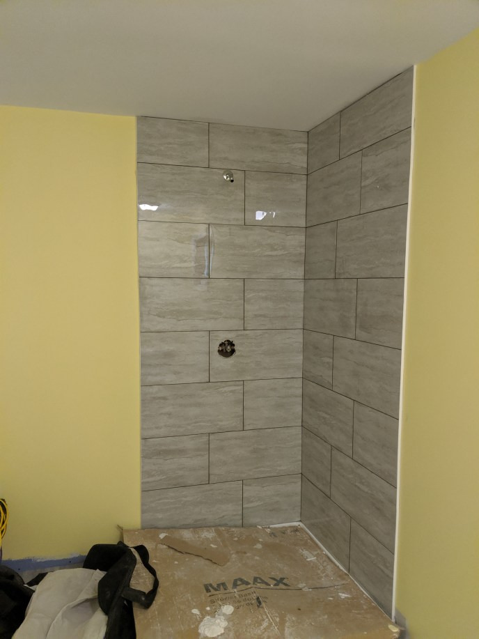 New tiles installed for a shower