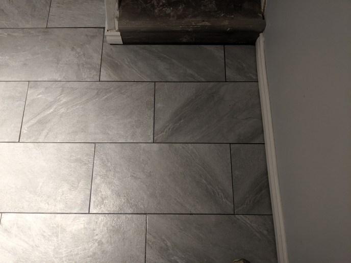 Tile floor installed in basement