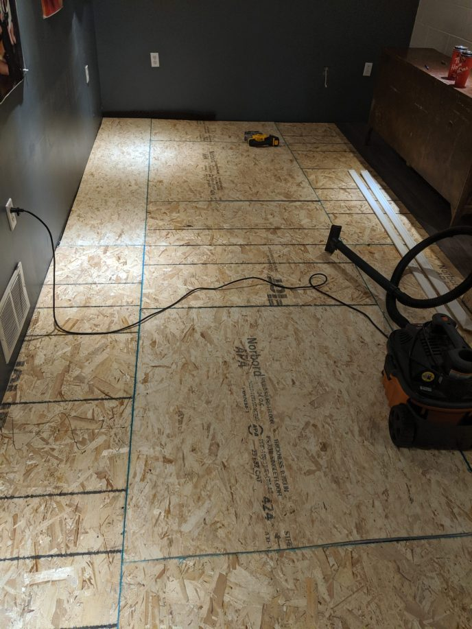 New sub-floor installed in basement