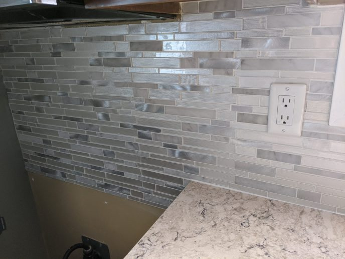 Back splash installed behind stove