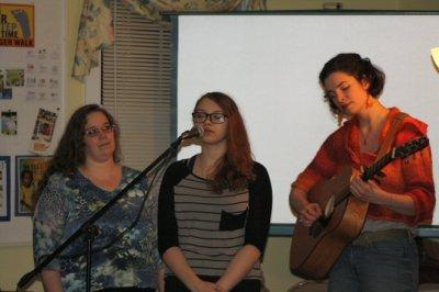 Melissa, Linda, and Pastor Lourey perform One Voice