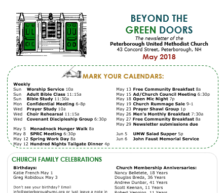 Beyond the Green Doors - May 2018 Newsletter - Peterborough