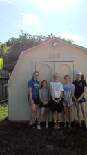 Hard at work we restored and painted this shed along with painting house trim and replacing back wall of garage and painting it. This is the crew I worked with and Ki is one of them. Tomorrow is last day and I am exhausted and ready for home on Saturday.