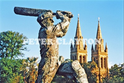 AUSTRALIA - ADELAIDE - BRADMAN STATUE AND ST PETERS CATHEDRAL R4