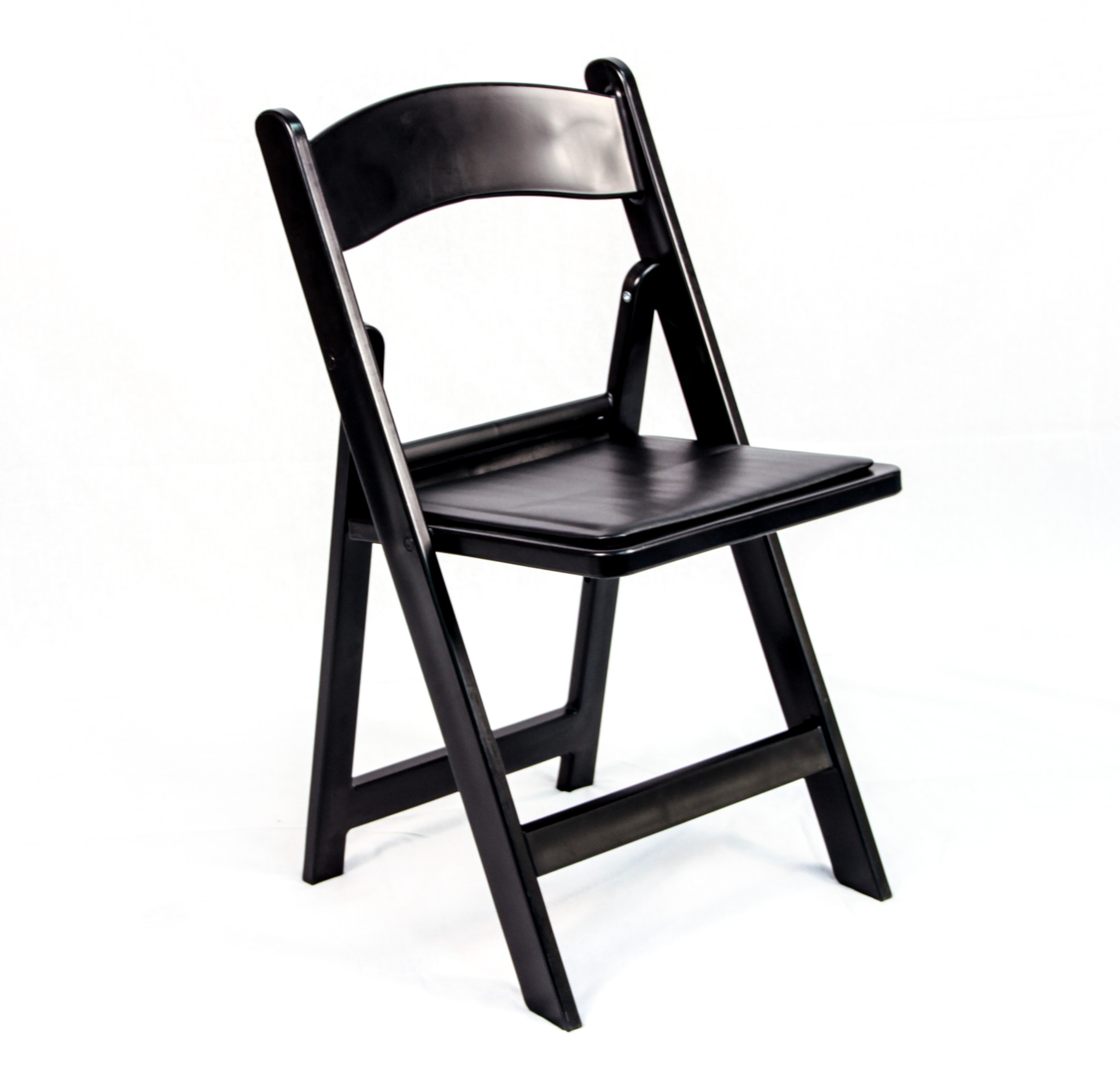 Black Resin Folding Chair with Padded Seat  Peter