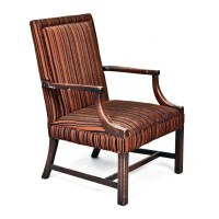 Brown Black Striped Accent Chair  Peter Corvallis Productions