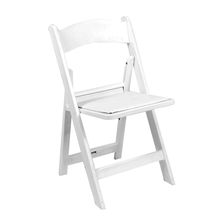White Resin Folding Chair with Padded Seat  Peter
