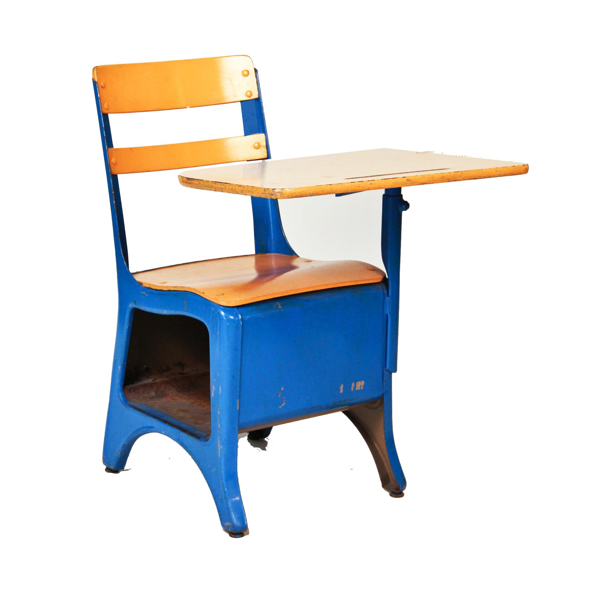 Blue School Desk Accent Chair  Peter Corvallis Productions
