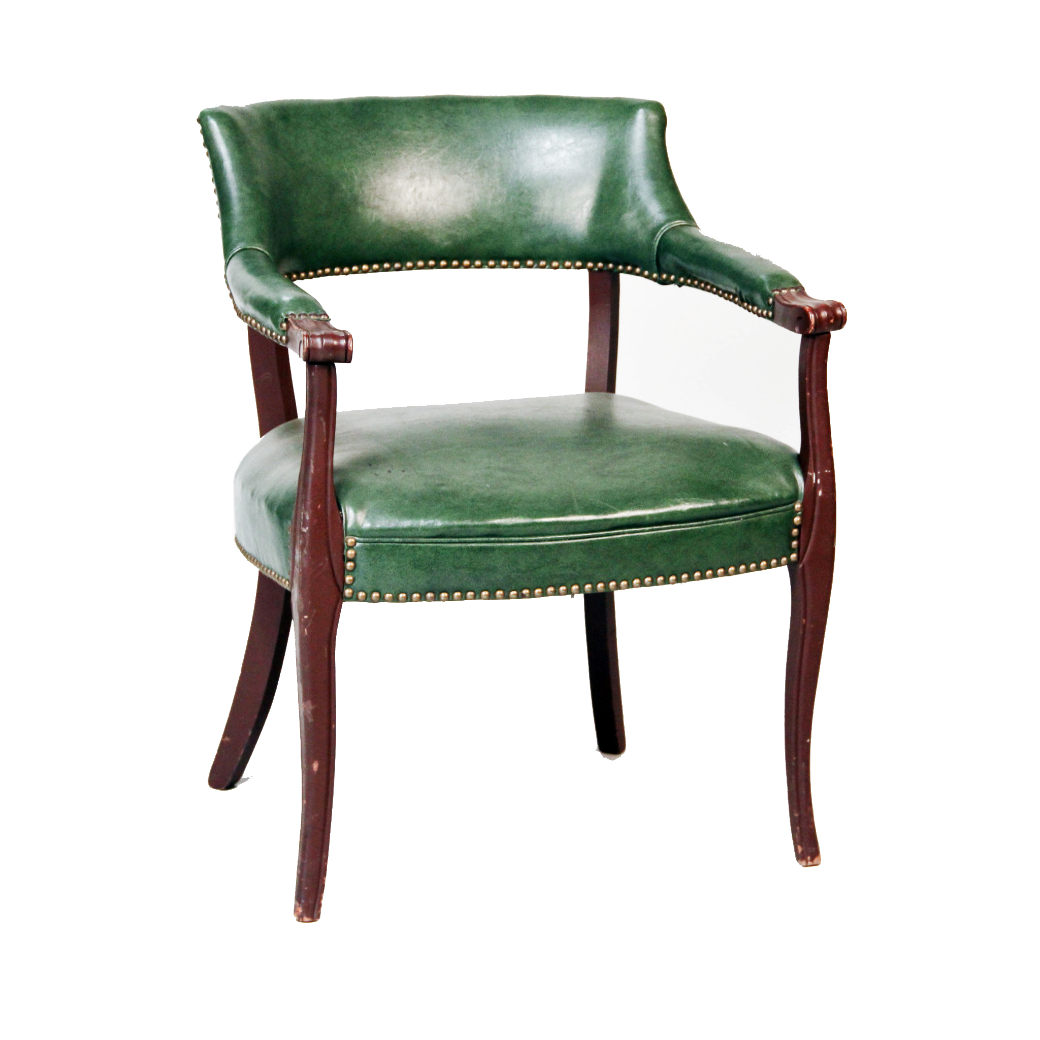 Green Leather Barrel Accent Chair  Peter Corvallis