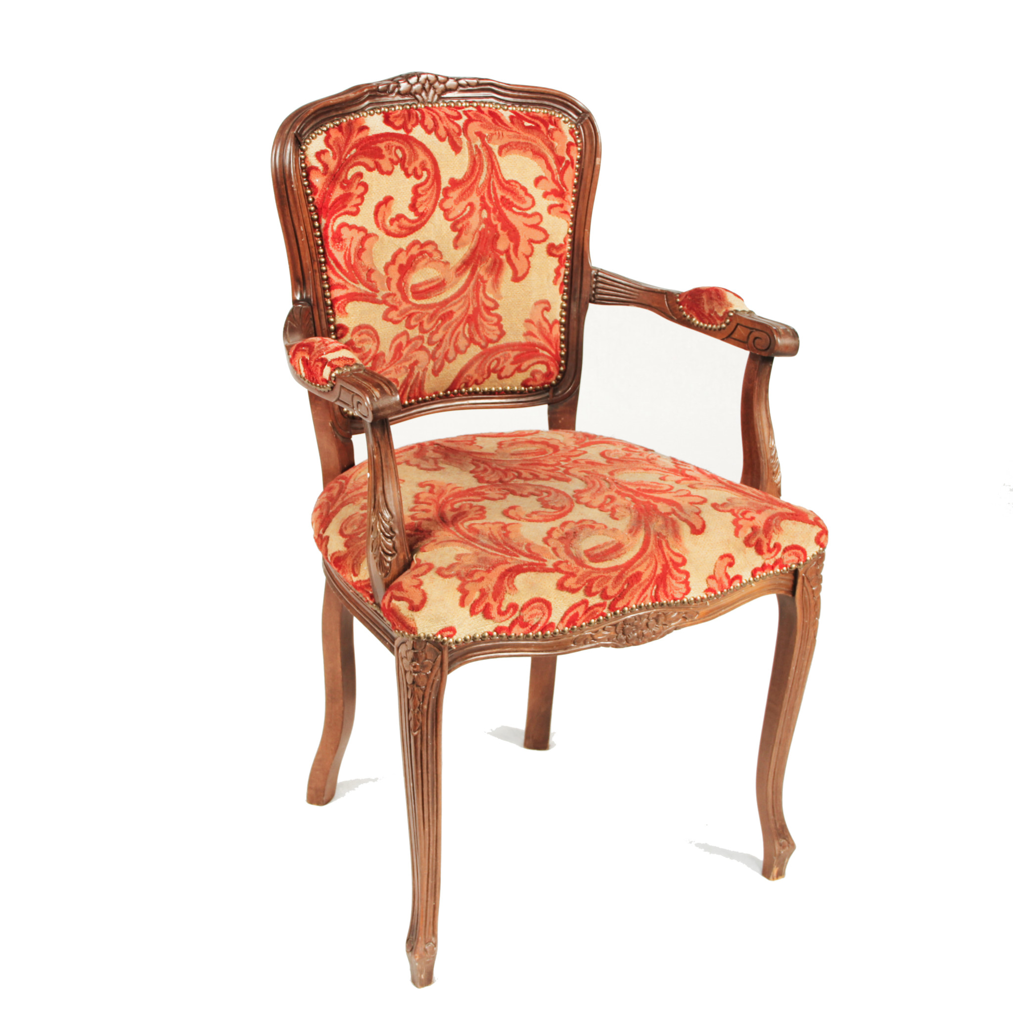 damask accent chair red patio cushions and gold peter corvallis productions