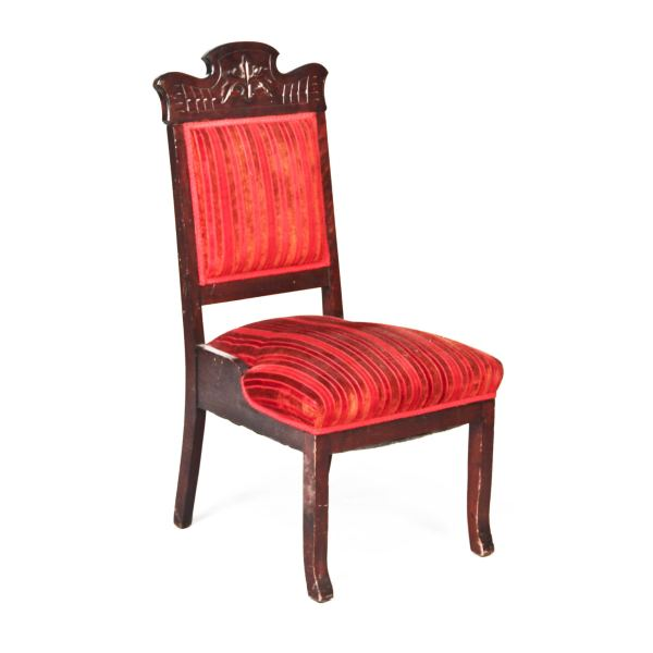 Wood Red Stripe Velvet Accent Chair - Peter Corvallis