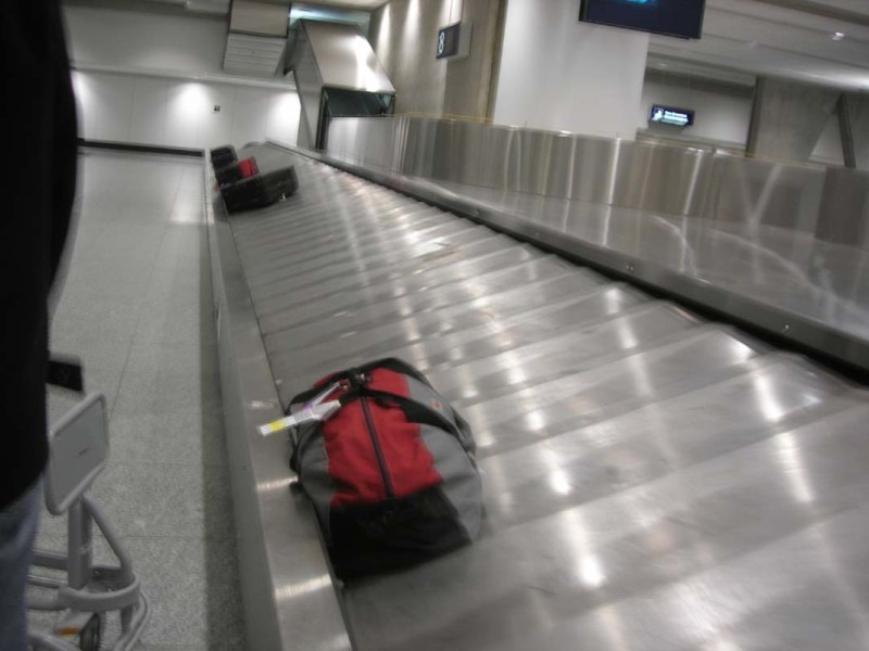 Lost luggage at an airport on the carousel