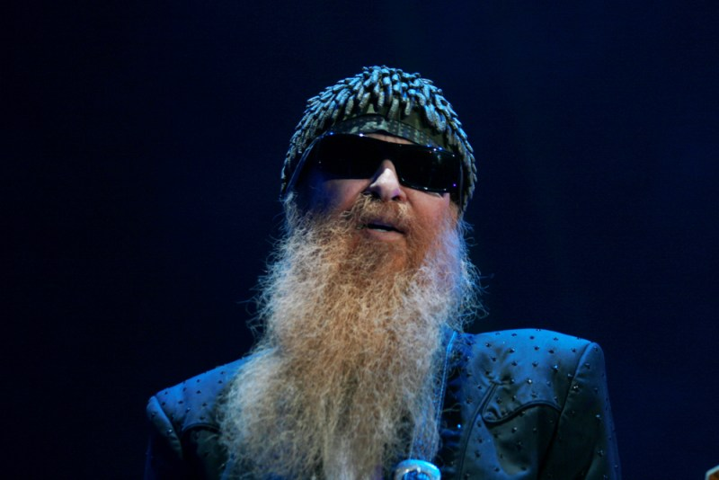 Close up of bearded ZZ top musician