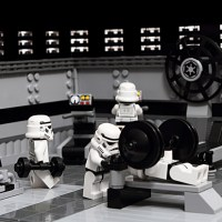 Star Wars figures from the Dark Side in competition in the gym