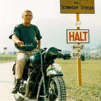 "Famous Steve McQueen on the Swiss border in ""The Great Escape"", starring Steve McQueen"