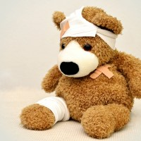 Teddy bear all bandaged up