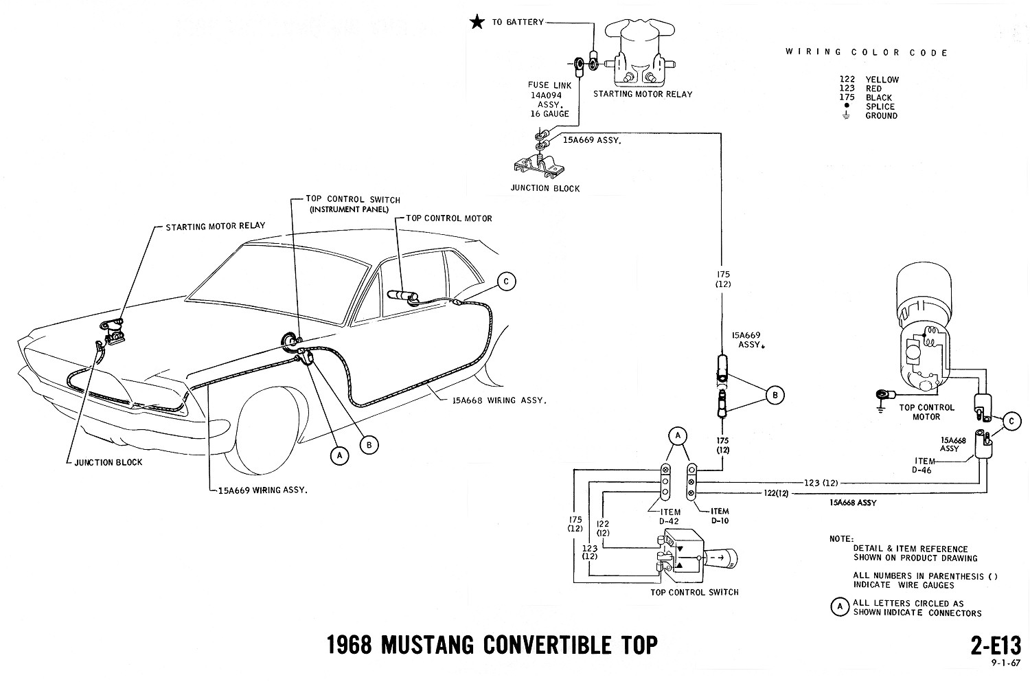1968 mustang wiring diagrams evolving software1968 Mustang Convertible Top Switch Wiring Diagram #1
