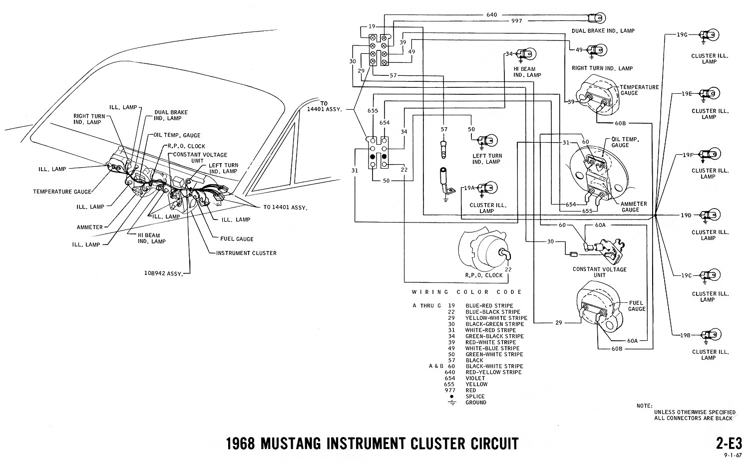 hight resolution of instrument cluster clock gauges 1968 mustang wiring diagrams